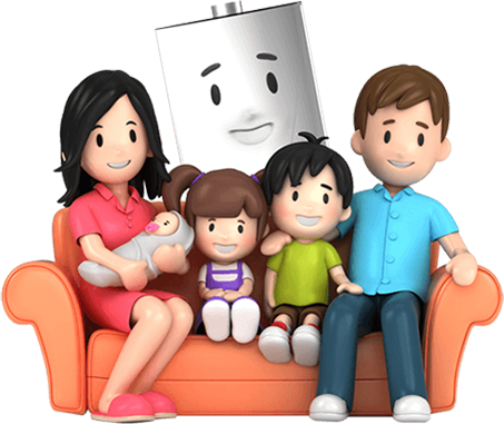 Cartoon family sitting on sofa