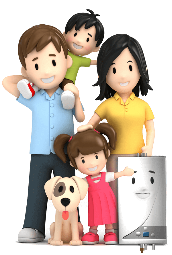 Cartoon family with boiler and dog